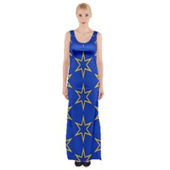 Star Pattern Blue Gold Maxi Thigh Split Dress by Jojostore
