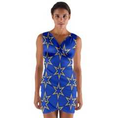 Star Pattern Blue Gold Wrap Front Bodycon Dress by Jojostore