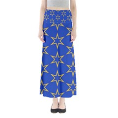 Star Pattern Blue Gold Full Length Maxi Skirt by Jojostore