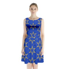 Star Pattern Blue Gold Sleeveless Waist Tie Chiffon Dress by Jojostore