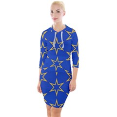 Star Pattern Blue Gold Quarter Sleeve Hood Bodycon Dress by Jojostore