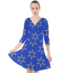 Star Pattern Blue Gold Quarter Sleeve Front Wrap Dress by Jojostore