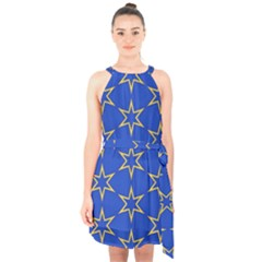 Star Pattern Blue Gold Halter Collar Waist Tie Chiffon Dress by Jojostore