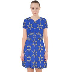 Star Pattern Blue Gold Adorable In Chiffon Dress by Jojostore