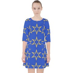 Star Pattern Blue Gold Pocket Dress by Jojostore
