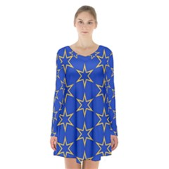 Star Pattern Blue Gold Long Sleeve Velvet V Neck Dress by Jojostore
