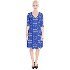 Star Pattern Blue Gold Wrap Up Cocktail Dress by Jojostore