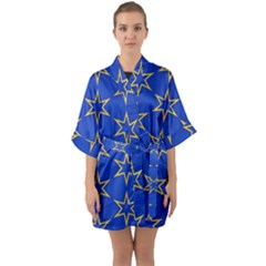 Star Pattern Blue Gold Quarter Sleeve Kimono Robe by Jojostore