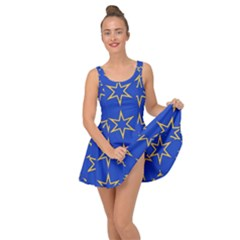 Star Pattern Blue Gold Inside Out Casual Dress by Jojostore