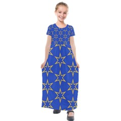 Star Pattern Blue Gold Kids  Short Sleeve Maxi Dress by Jojostore