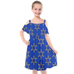 Star Pattern Blue Gold Kids  Cut Out Shoulders Chiffon Dress by Jojostore