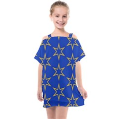 Star Pattern Blue Gold Kids  One Piece Chiffon Dress by Jojostore