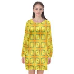 Green Plaid Gold Background Long Sleeve Chiffon Shift Dress