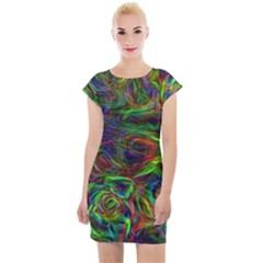 Plasma Shining Lines Light Stripes Cap Sleeve Bodycon Dress