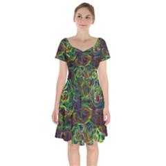 Plasma Shining Lines Light Stripes Short Sleeve Bardot Dress by HermanTelo