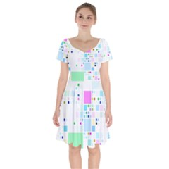 Square Colorful Pattern Geometric Short Sleeve Bardot Dress