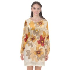 Flower Vector Background Long Sleeve Chiffon Shift Dress