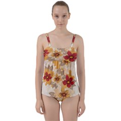 Flower Vector Background Twist Front Tankini Set by Pakrebo