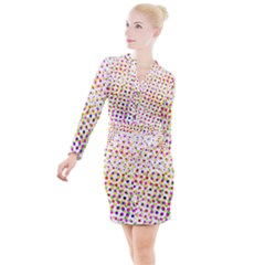 Illustration Abstract Pattern Polka Dot Button Long Sleeve Dress
