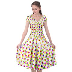 Illustration Abstract Pattern Polka Dot Cap Sleeve Wrap Front Dress