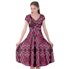 Abstract Pattern Mandala Decorative Cap Sleeve Wrap Front Dress
