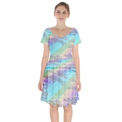 Abstract Lines Perspective Plan Short Sleeve Bardot Dress