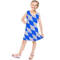 Pattern Geometric Wallpaper White Blue Kids  Tunic Dress by Pakrebo