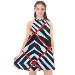 Model Abstract Texture Geometric Halter Neckline Chiffon Dress