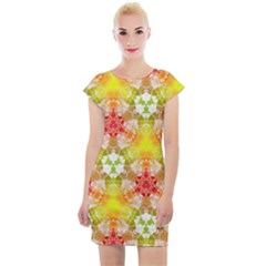 Background Abstract Pattern Texture Cap Sleeve Bodycon Dress