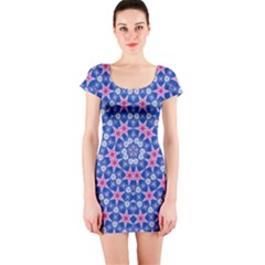Digital Art Art Artwork Abstract Star Short Sleeve Bodycon Dress