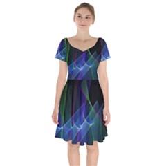 Abstract Desktop Background Short Sleeve Bardot Dress by Pakrebo