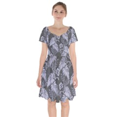 Ornament Flowers Leaf Short Sleeve Bardot Dress