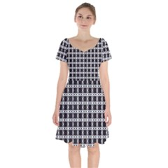 Purple Pattern Texture Short Sleeve Bardot Dress