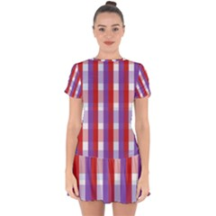 Gingham Pattern Line Drop Hem Mini Chiffon Dress by HermanTelo