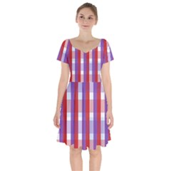 Gingham Pattern Line Short Sleeve Bardot Dress by HermanTelo
