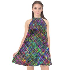 Pattern Artistically Halter Neckline Chiffon Dress  by HermanTelo