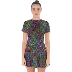 Pattern Artistically Drop Hem Mini Chiffon Dress by HermanTelo