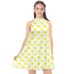 Yellow White Halter Neckline Chiffon Dress  by HermanTelo