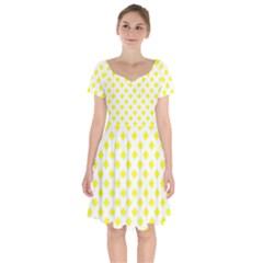 Yellow White Short Sleeve Bardot Dress