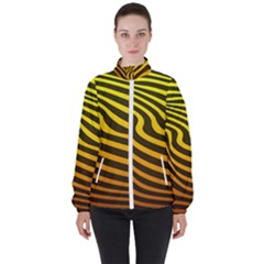 Wave Line Curve Abstract Women s High Neck Windbreaker by HermanTelo