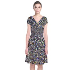 Circle Plasma Artistically Abstract Short Sleeve Front Wrap Dress