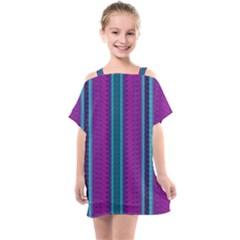 Fabric Pattern Color Structure Kids  One Piece Chiffon Dress by Bajindul