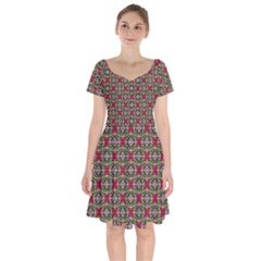 Decorative Flower Short Sleeve Bardot Dress