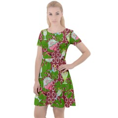 Ice Cream Tropical Pattern Cap Sleeve Velour Dress  by snowwhitegirl
