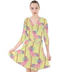 Unicorn Carousel Quarter Sleeve Front Wrap Dress by VeataAtticus