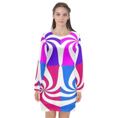 Candy Cane Long Sleeve Chiffon Shift Dress  by Alisyart