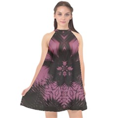 Glitch Art Grunge Distortion Halter Neckline Chiffon Dress