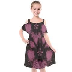 Glitch Art Grunge Distortion Kids  Cut Out Shoulders Chiffon Dress by Mariart