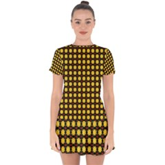 Yellow Pattern Green Drop Hem Mini Chiffon Dress by Jojostore