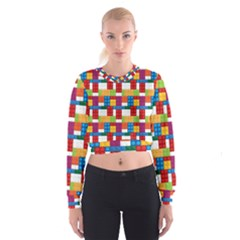 Lego Background Rainbow Cropped Sweatshirt by AnjaniArt